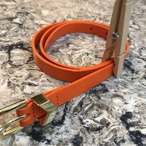 Orange J. CREW Leather Belt Size Small